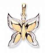 9ct Gold two colour Butterfly Pendant 1.4g